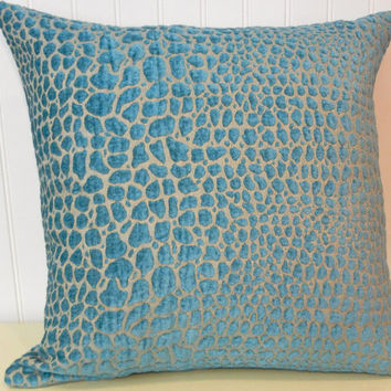 Beautiful Velvet Decorative Pillow Cover--20 x 20 or 18 x 18 Throw Pillow--Turquoise