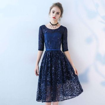 Tulle Pattern O-neck Half Sleeves Sequined Length Bridesmaids Dresses Lace Up Short Formal Dress