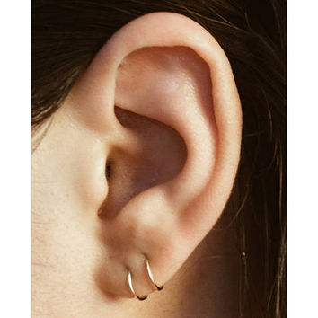 Tiny Hoop Earrings Pair Cartilage Gold Hoops Ear
