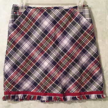 Vintage 90s Clueless Mini Skirt Clueless Style Plaid Mini Skirt by Tommy Hilfiger, High Waist Skirt