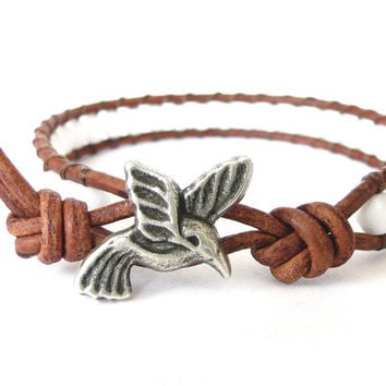 Hummingbird leather wrap bracelet, southwestern gift for best friend, boho jewelry, opaque white beads on tobacco brown distressd leather