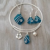 Handmade in Hawaii, Wire wrapped teal blue sea glass necklace + earrings + bracelet jewelry set, Hibiscus charm, Sterling silver chain.