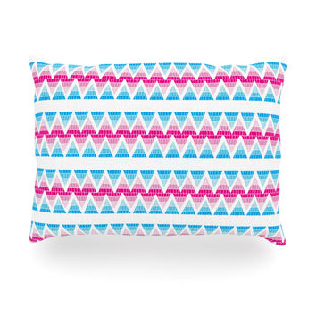 "Apple Kaur Designs ""Swimming Pool Tiles"" Blue Pink Oblong Pillow"