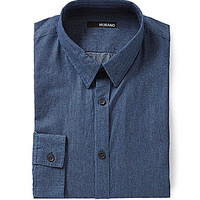 Murano Timeless Blue Collection Slim-Fit Long-Sleeve Sportshirt - Blue