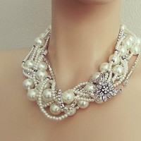 Bridal Chunky Necklace - Pearl Necklace - Wedding Pearl Necklace - Ivory Pearl Necklace -Bridal Accessories - Rhinestone Wedding Jewelry