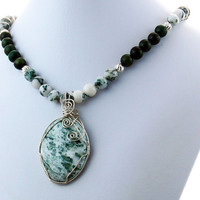 Tree Jasper, Malachite and Sterling Silver Pendant Necklace, Statement Necklace, Stone Necklace, Stone Pendant