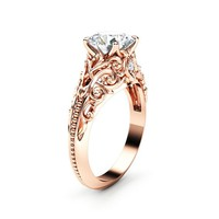 Unique Moissanite Engagement Ring 14K Rose Gold Ring Filigree Anniversary Ring Milgrain Engagement Ring