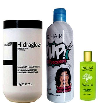 INOAR ARGAN OIL HIDRAGLOSS G HAIR ZUP KIT HYDRATANT CAPILLAIRE 60ml 1Kg 500ml