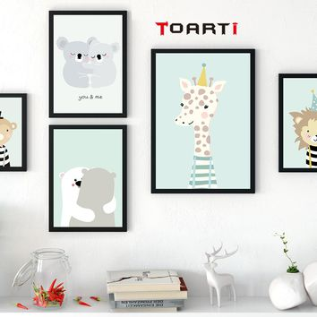 Cartoon Animal Cute Deer Bear Nordic Dog Wall Art Posters And Prints Canvas Painting Home Decor Wall Picture For Baby Kids Room