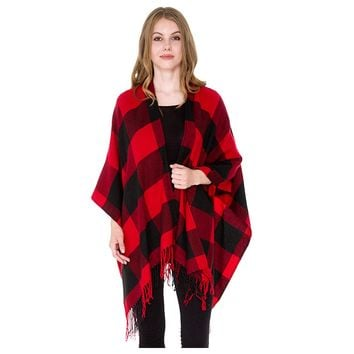 Buffalo Black and Red Plaid Fringe Blanket Scarf