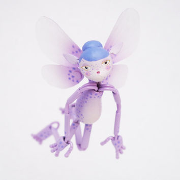 Lavender Fairy, Holiday Fairy Gift, Flower Fairy, Posable Art Doll, Jointed Doll, Posable Figure, OOAK posable, Elf Doll