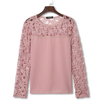 Pink Crochet Lace Flower Shirt