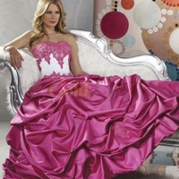 Princess Sweetheart Strapless Applique Beading Satin Pongee Ball Gown - US$222.99 - Goldwo.com