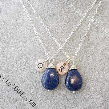 Handmade Initial Necklace Tiny Silver Natural Teardrop  Lapis Necklace