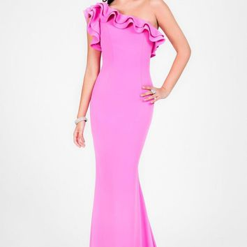 Terani Couture - Lovely One-Shoulder Asymmetric Polyester Mermaid Gown 1711P2402