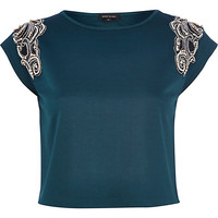 River Island Womens Teal faux pearl embellished crop top