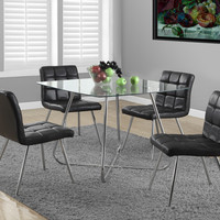 "Chrome Metal / 8Mm Tempered Glass 40""Dia Dining Table"