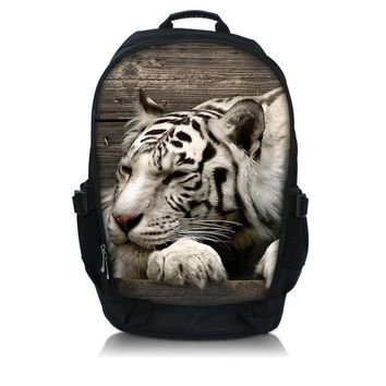 "Tiger Print Cool Laptop Backpack School Book Backpack Travel Hiking Bag Shoulder Bag Up To 15.6"" Laptop Backpack Ruchsack"