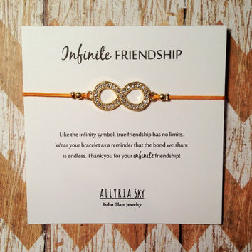 Rhinestone Infinity Friendship Bracelet | Bracelet with Card | Gift for Her