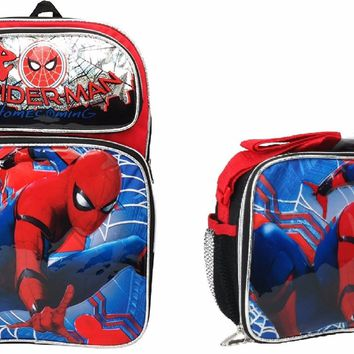 """HOME COMING ""Marvel Spiderman Boys 12"" Canvas Black School Backpack w/Lunch Bag"