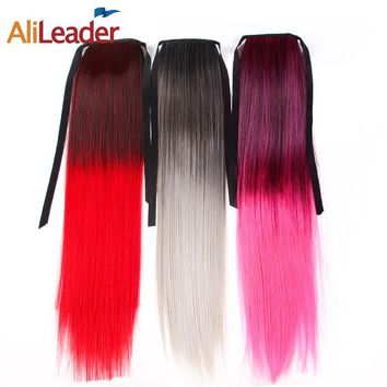 Alileader Clip In Straight Hair Extensions Pony Tail Ombre Red Fairy Tail High Fiber Temperature Fake Synthetic Hair For Girls