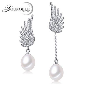 925 silver wedding cartilage animal bohemian earrings for women,real natural freshwater pearl earring fancy Phoenix white pink