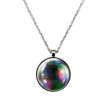 Disco Ball Necklace Jewelry stainless steel casing crystal glass pendant with embedded mirror Disco Ball.