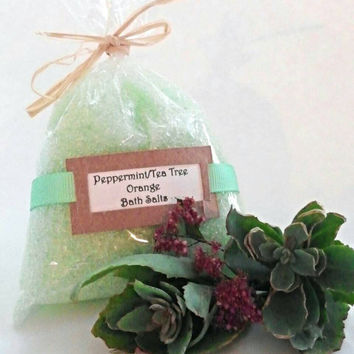 Bath salts, salt soak, bath salts and soaks, bath salt soak, All natural epson salt soak Peppermint , Tea tree, orange, Gifts under 10
