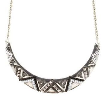 Silver Beaded Tribal Crescent Collar Necklace by Charlotte Russe