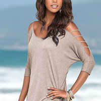 Plain Long Sleeve Cutout Arm Shirt