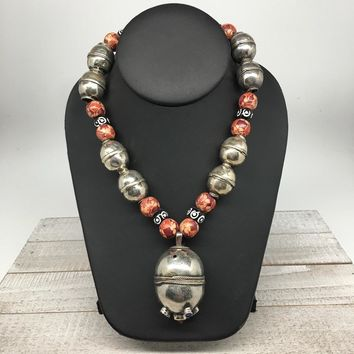"68.7g, Double Round Metal Wood Beaded Turkmen Necklace @Afghanistan, 25"", TN161"