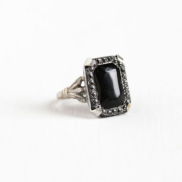 Vintage Simulated Onyx & Marcasite Ring - Size 4 3/4 Vintage Art Deco 1930s Filigree Black Glass Studded Statement Jewelry