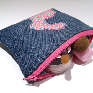 Zippered Bunny Denim Coin Purse