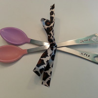 Hand Stamped Spoons Personalized baby gift - Personalized Baby Spoons with name Set of 2 Girl