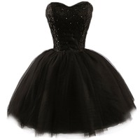 PrettyDresses Women's Black Lace Cocktail Homecoming Prom Party Dresses