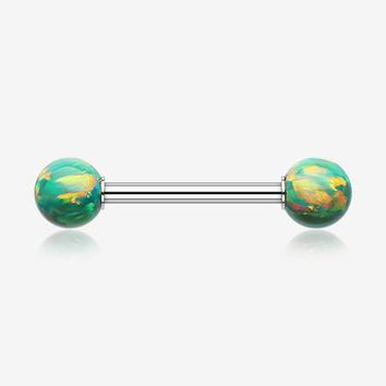 A Pair of Iridescent Fire Opal Steel Nipple Barbell