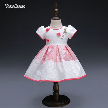 Yeedison Lolita Style Baby Girl Dresses Party and Wedding Knee Length Ball Gown Summer Floral Girls Dresses Baby Clothing