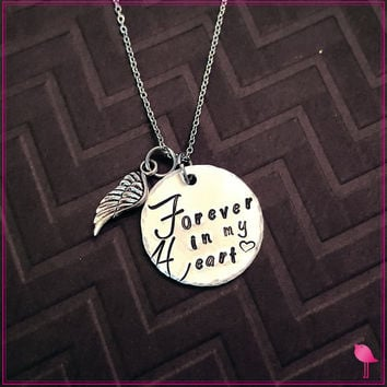 Forever in My Heart Bling Chicks Memorial Necklace