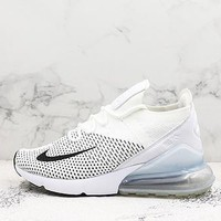 Nike Air Max 270 Flyknit Black White Running Shoes