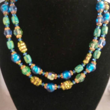 On Sale Vintage Glass Necklace Aqua Blue Green 2 Strand Beaded 1950s 1960s Jewelry - High End Mid Century Costume Jewelry