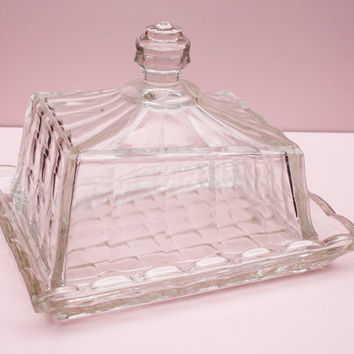 Butter Dish, Cheese Dish, Jacobean Glass, Vintage Kitchen, Pressed Glass, Geometric, Two Piece Set, Kitchen Accessory - 1930's / 1940's