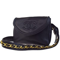 Authentic CHANEL CC Logos Chain Bum Bag Leather Black Italy Vintage 17EB714