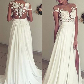 Short Sleeve White A-Line Prom Dresses Evening Dresses