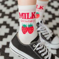 Women Socks Kawaii Letter Milk Strawberry Pineapple Banana Fruit Socks Pink Ice Socks