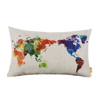 Decorative Throw Pillows World Map Geometric Colorful Cotton Linen Pillow Cover For Home Pillowcase In Stock #85129