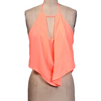 Here For the Party Crop Top - Neon Coral