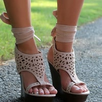 Riverside Drive Gladiator Ankle Strap Nude Cut Out Wedge Sandals