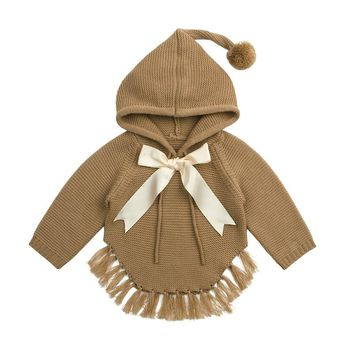 Baby Girl Sweater Cardigans with Hooded Newborn Toddler Knitwear Tops Long Sleeve Knit Infant Bebe Pullover Jumpers