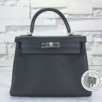Authentic New Hermes Kelly 28 Black Togo Shoulder Bag Phw