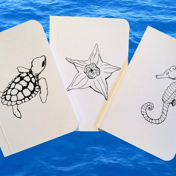 3 Marine Life White Notebooks Collection, Pocket Journals, Mini Notebooks and Jotters, Sea Notebooks, Seafood Recipe Books